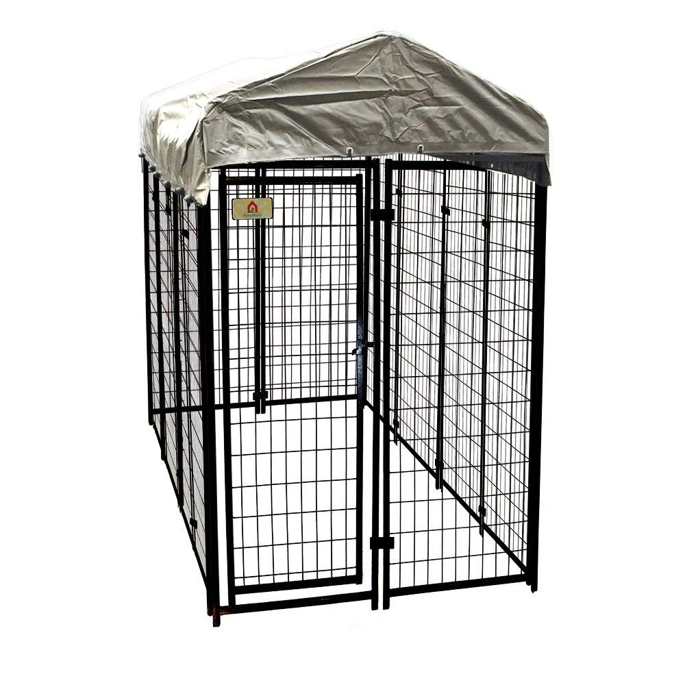 KennelMaster 4 ft. x 8 ft. x 6 ft. Welded Wire Dog Fence Kennel Kit ...
