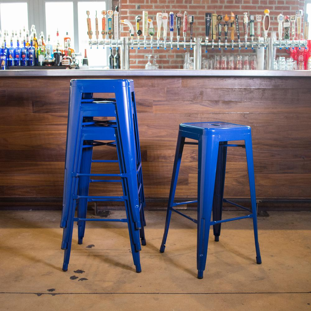 Loft Style 30 in. Stackable Metal Bar Stool in Blue (Set ...