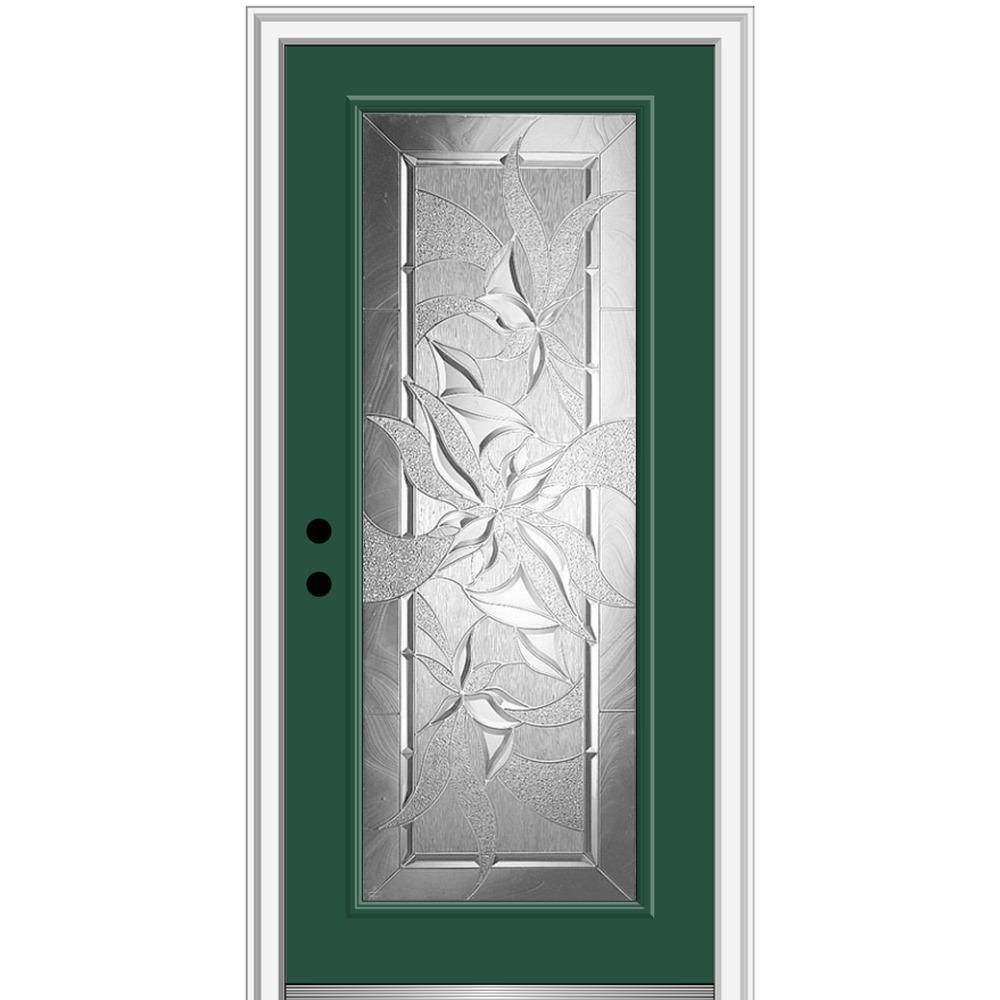 MMI Door 36 in. x 80 in. Impressions Right-Hand Inswing Full Lite Decorative Glass Painted Steel Prehung Front Door