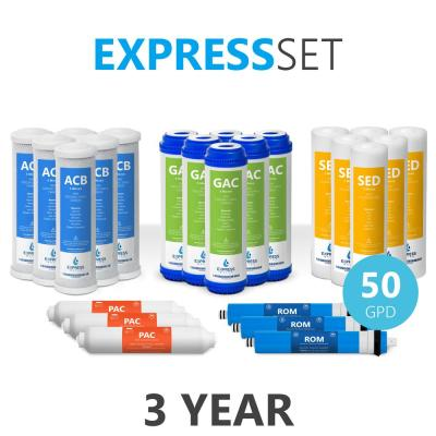 Express Water – 3 Year Reverse Osmosis System Replacement Filter Set – 24 Filters with 50 GPD RO Membrane – 10 inch Size