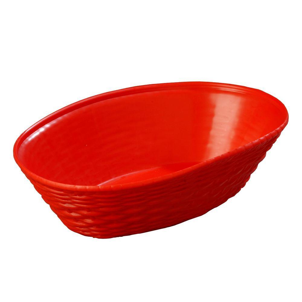 9.06 in. x 6.25 in. Polypropylene Oval Serving Basket in Red (Case of 12)