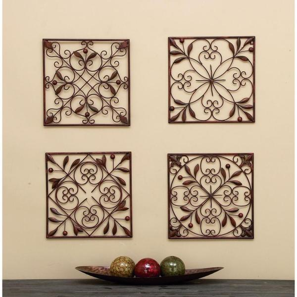 Litton Lane Assorted 14 in. Leaf Scroll Wall Plaques (Set of