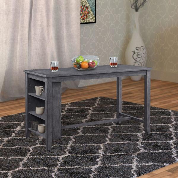 Benjara 36 In H Gray Wooden Counter Height Dining Table With Storage Bm180296 The Home Depot