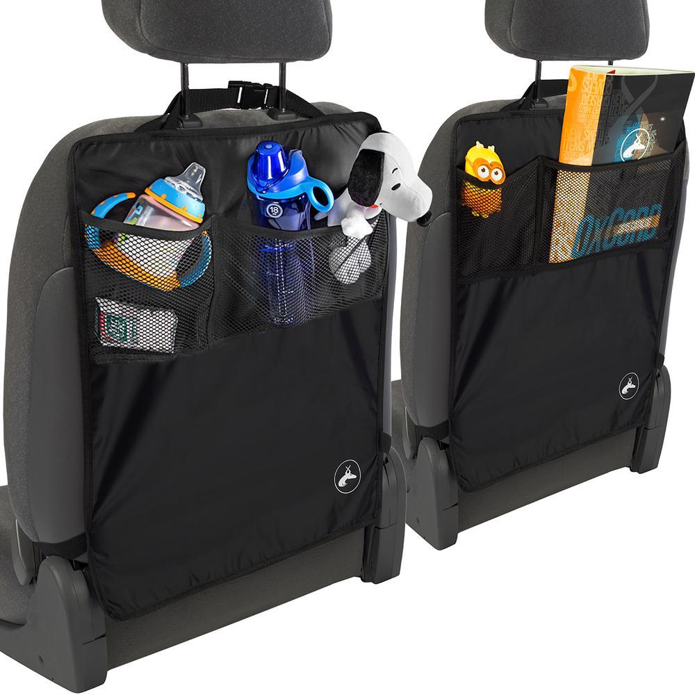 Seat Kick Mats 22.25 in. L x 0.1 in. W x 17 in. H Black with Back Pocket (2-Pack)