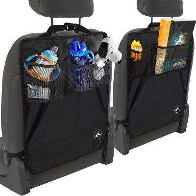 Seat Kick Mats 22.25 in. L x 0.1 in. W x 17 in. H Black with Back Pocket (2-Pack)