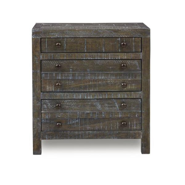 Townsend 3-Drawer Gunmetal Nightstand (29 in. H x 27 in. W x 18 in. D)