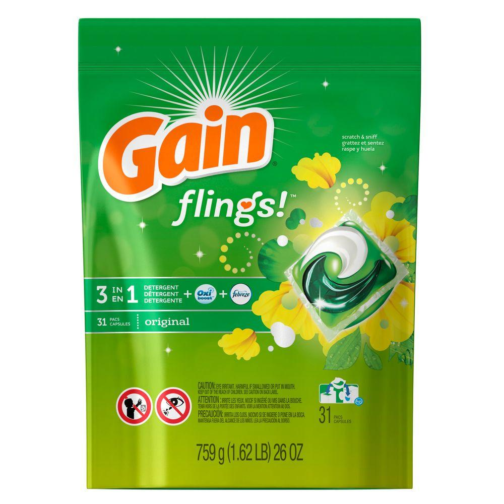 Flings 26 oz. Original Scent Unit Dose Laundry Detergent (31 Load)