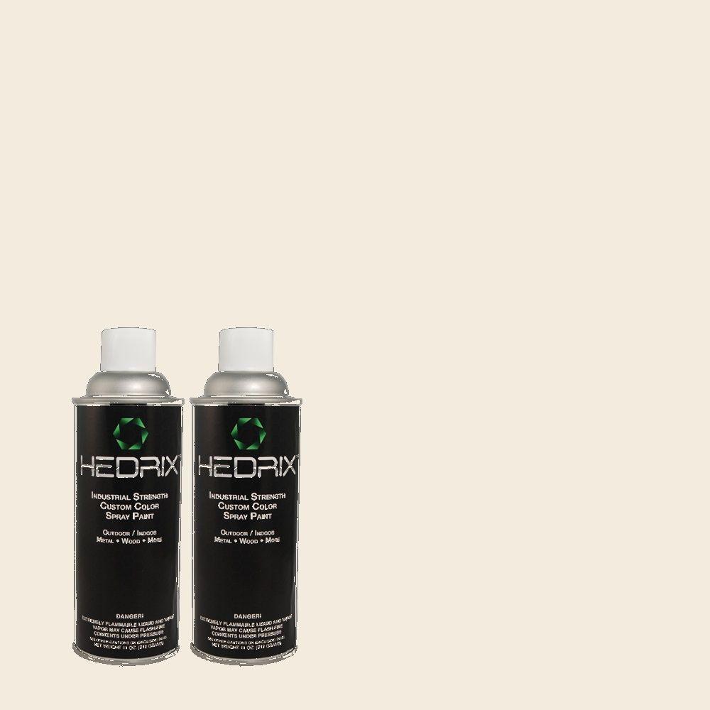 Hedrix 11 oz. Match of QE-01 Jet White Low Lustre Custom Spray Paint (8-Pack)