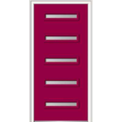 36 in. x 80 in. Davina Right-Hand Inswing 5-Lite Frosted Painted Fiberglass Smooth Prehung Front Door, 4-9/16 in. Frame