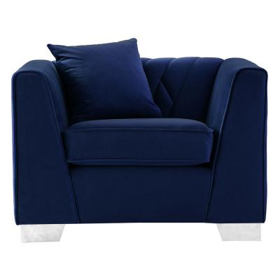 Cambridge Blue Velvet Contemporary Chair in Brushed Stainless Steel