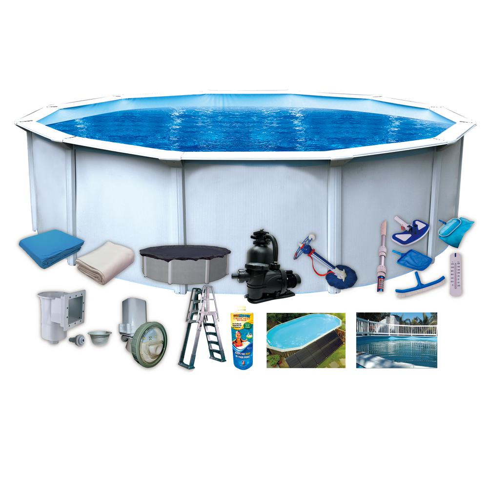 24 ft. Round 52 in. Steel Wall Above-Ground Pool Royal Package
