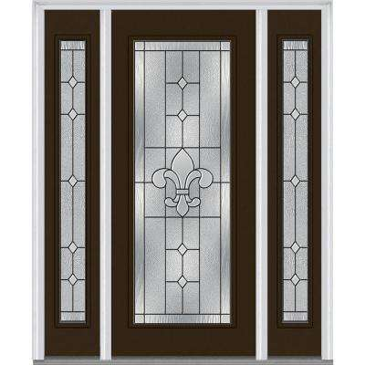 64 in. x 80 in. Carrollton Right-Hand Inswing Full Lite Decorative Painted Steel Prehung Front Door with Sidelites