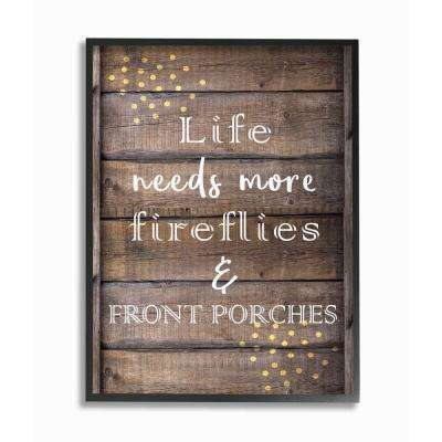 """24 in. x 30 in. """"Fireflies Country Life Home Wood Textured Word"""" by Kimberly Allen Framed Wall Art"""
