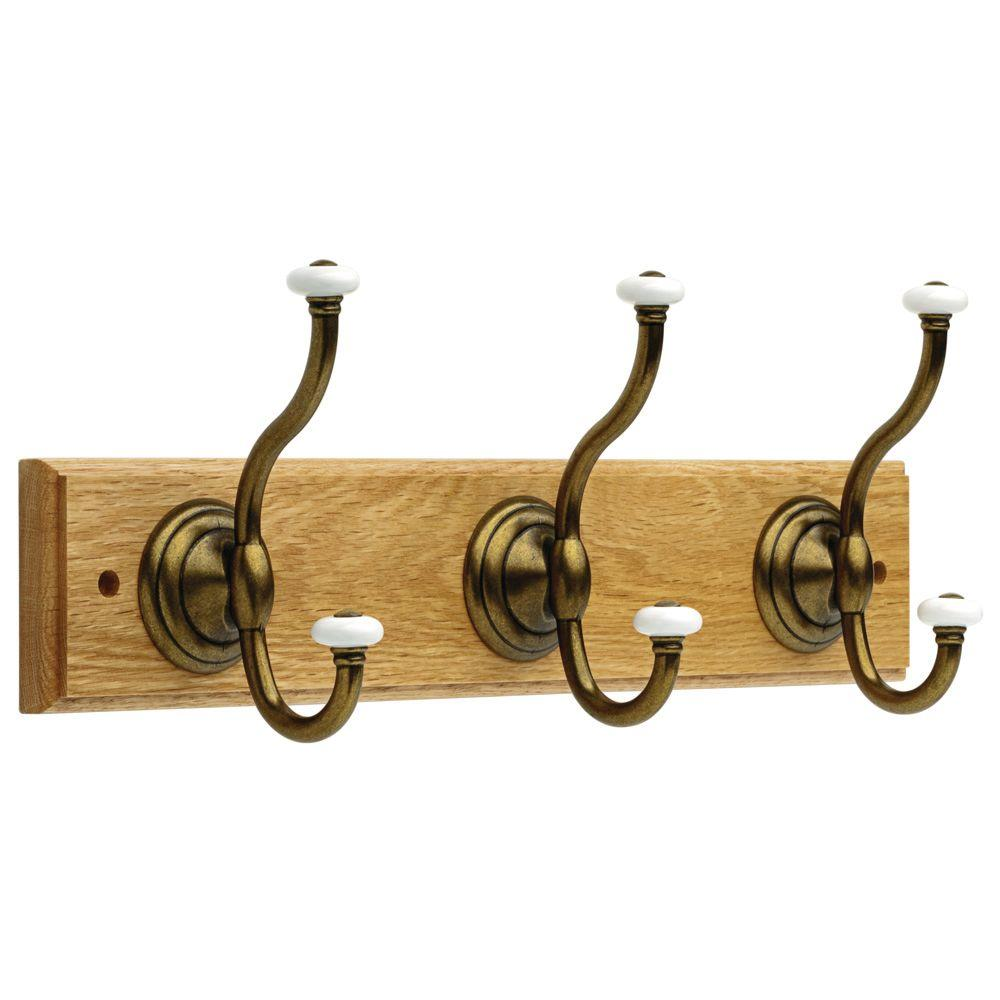 Liberty 18 in. Oak and Antique Brass Coat and Hat Hook Rack