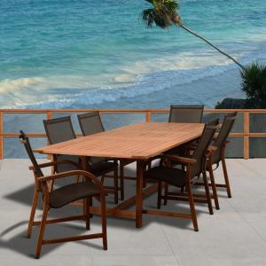 Amazonia Bahamas 7-Piece Wood Rectangular Outdoor Dining Set by