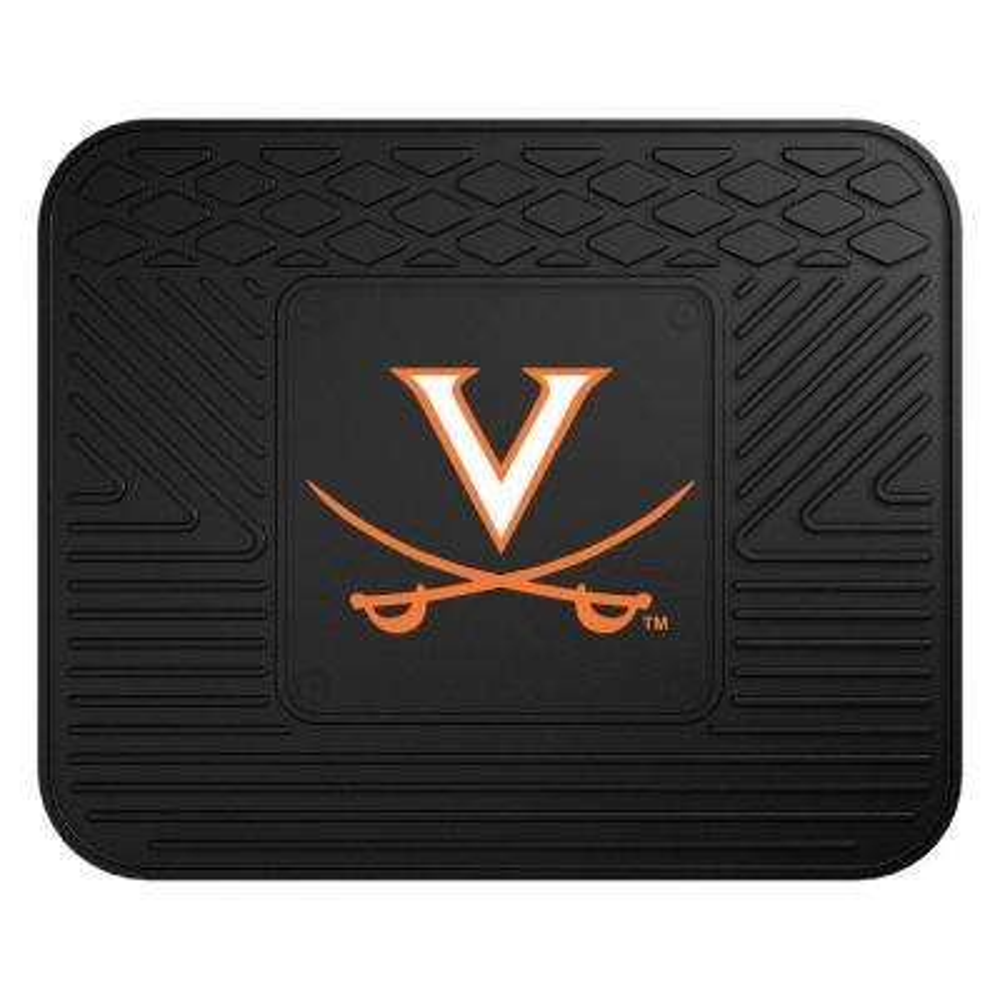NCAA University of Virginia Black Heavy Duty 1-Piece 14 in. x 17 in. Vinyl Utility Mat