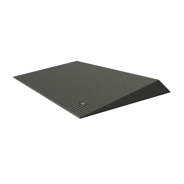 TRANSITIONS Angled Entry Door Threshold Mat, Grey, Rubber, 25 in. L x 40 in. W x 2.5 in. H
