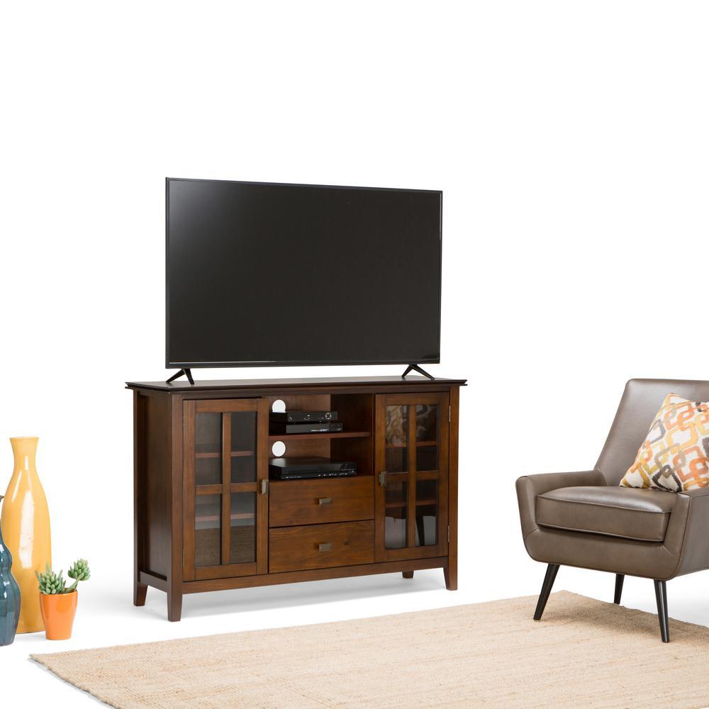 Simpli Home Artisan Grey Storage Entertainment Center Axchol005 Gr