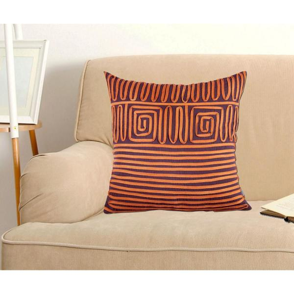 A1HC Geometric Lace Twirled Pillow, 100% Cotton, 18 in. x 18