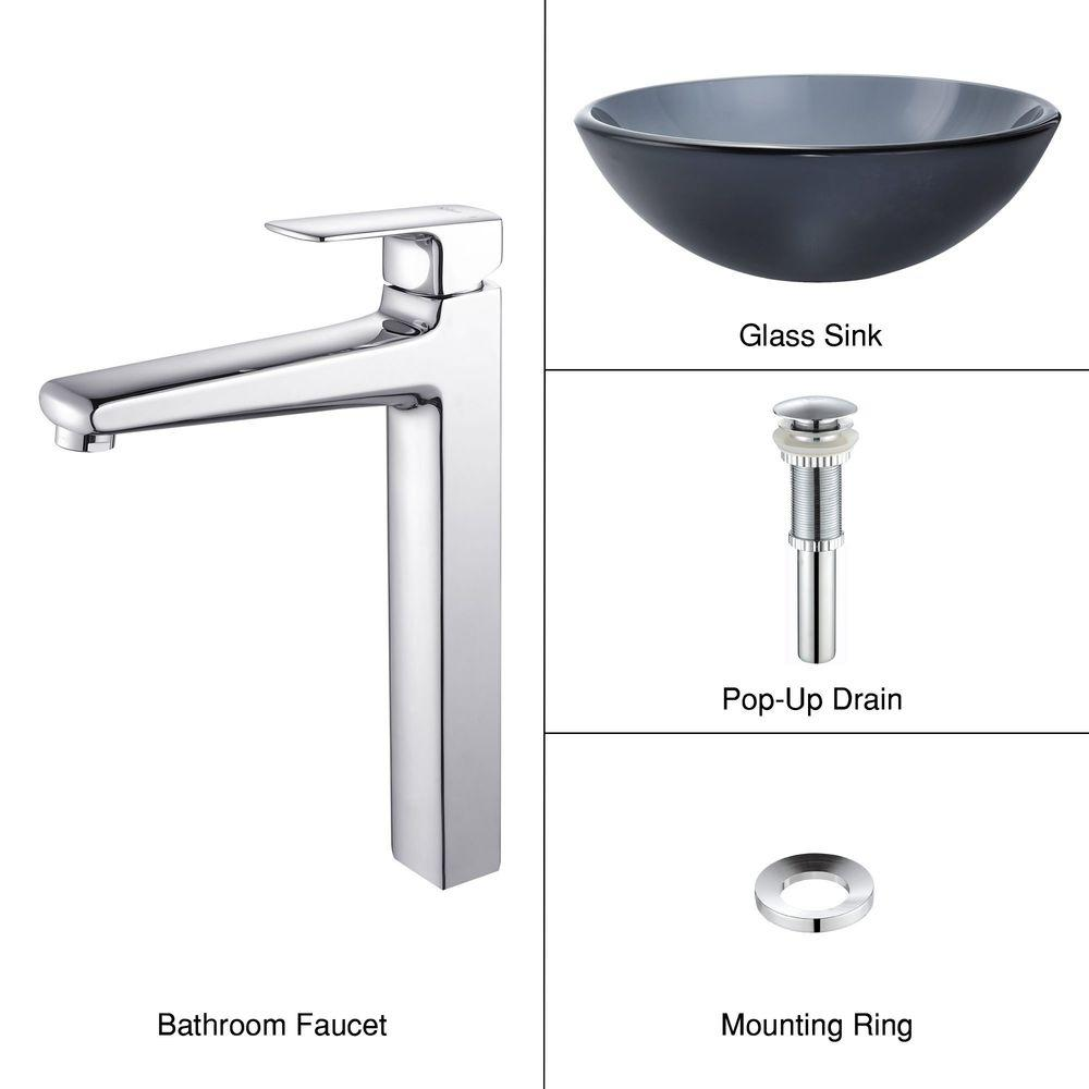 KRAUS Vessel Sink in Frosted Glass Black with Virtus Faucet in Chrome-DISCONTINUED