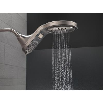 HydroRain Two-in-One 5-Spray 6 in.  Double Wall Mount Fixed Shower Head in Stainless
