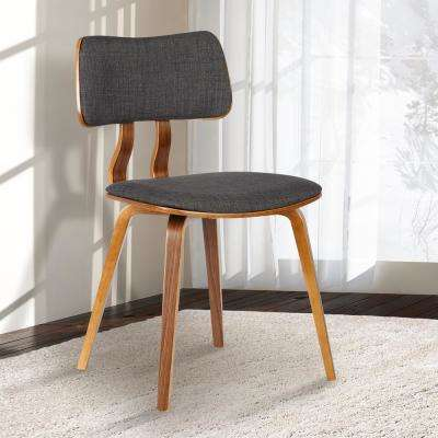 Jaguar 29 in. Charcoal Fabric and Walnut Wood Finish Mid-Century Dining Chair