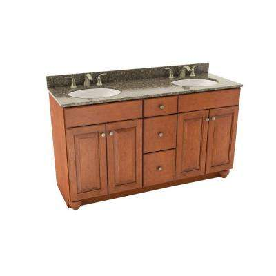 Charlottesville 61 in. Vanity in Cognac with Silestone Quartz Vanity Top in Mountain Mist and Oval White Double Sink