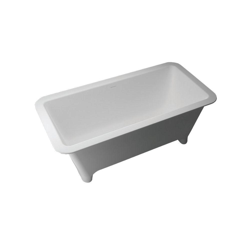 Transolid Milan 60.04 in. Solid Surface Freestanding Bathtub in White