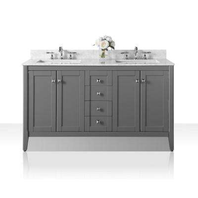 Shelton 60 in. W x 22 in. D Vanity in Sapphire Gray with Marble Vanity Top in Carrara White with White Basins