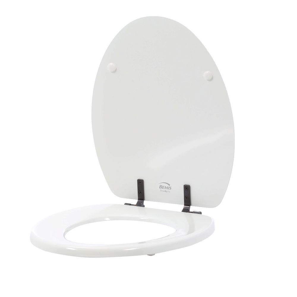 STA-TITE Elongated Closed Front Toilet Seat in White with Oil Rubbed