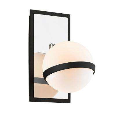 Ace 1-Light Carbide Black with Polished Nickel Accents Wall Sconce with Gloss Opal Shade