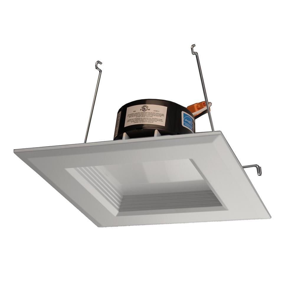 DLR Series 5 in. White (1100 Lumens) LED Square Recessed Retrofit Downlight Trim Kit, 2700K