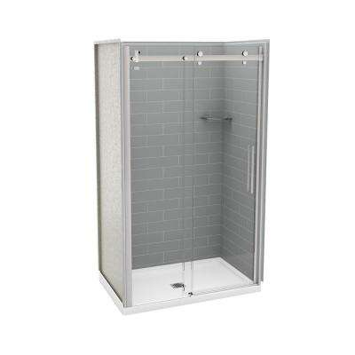 Utile Metro 32 in. x 48 in. x 83.5 in. Center Drain Alcove Shower Kit in Ash Grey with Chrome Shower Door