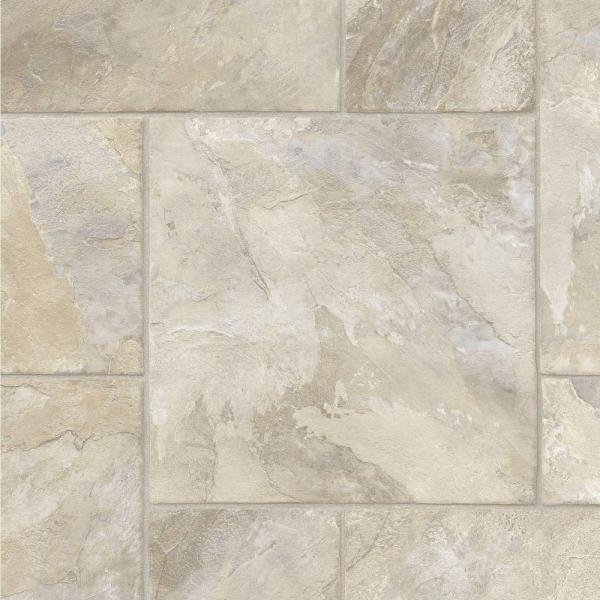 Modular Natural Slate Stone Residential Vinyl Sheet Flooring 12ft. Wide x Cut to Length