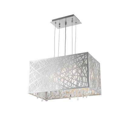 Julie 4-Light Chrome Rectangle Drum Chandelier with Clear Crystal Shade