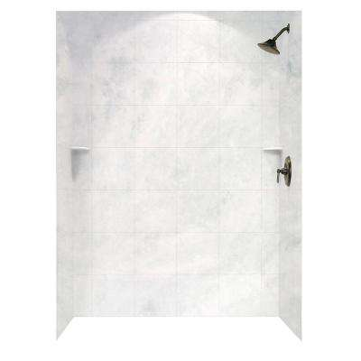 Square Tile 36 in. x 62 in. x 96 in. 3-Piece Easy Up Adhesive Alcove Shower Surround in Ice