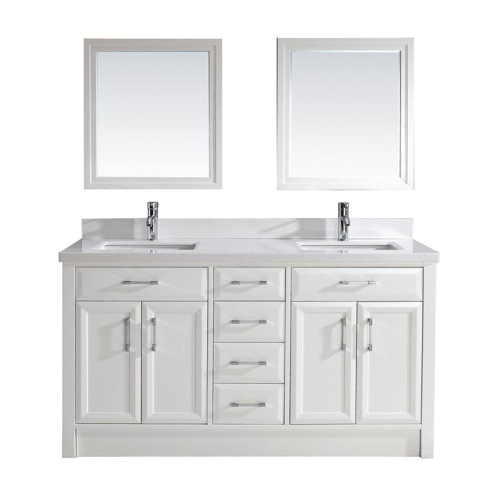 Studio Bathe Calais 63 in. Vanity in White with Solid Surface Marble Vanity Top in White and Mirror