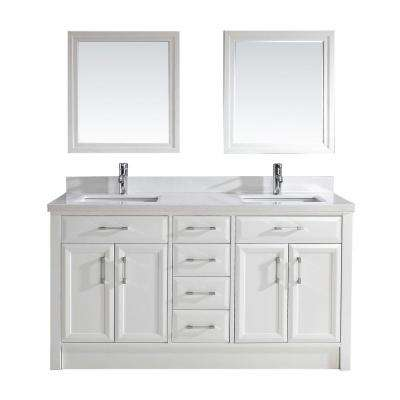 Calais 63 in. Vanity in White with Solid Surface Marble Vanity Top in White and Mirror