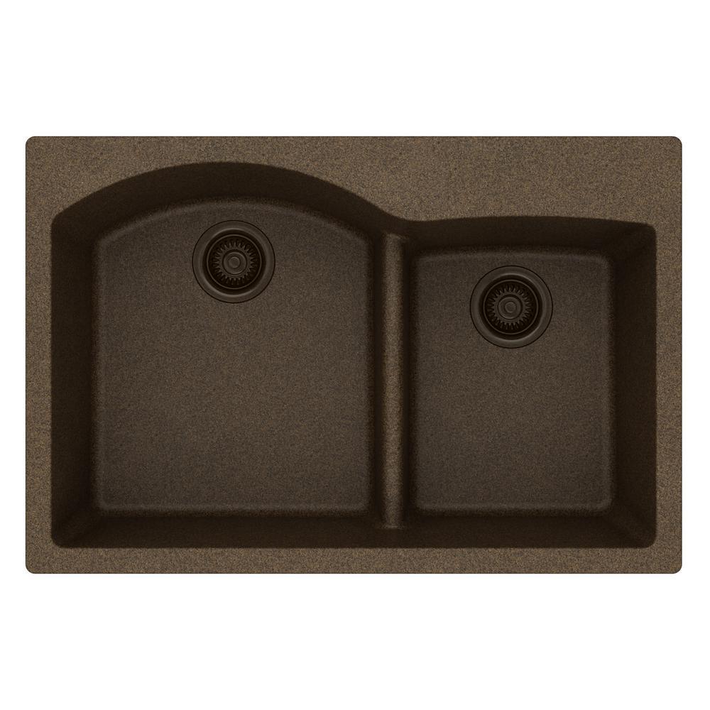 Merveilleux Quartz Classic Drop In Composite 33 In. Rounded Offset Double Bowl Kitchen