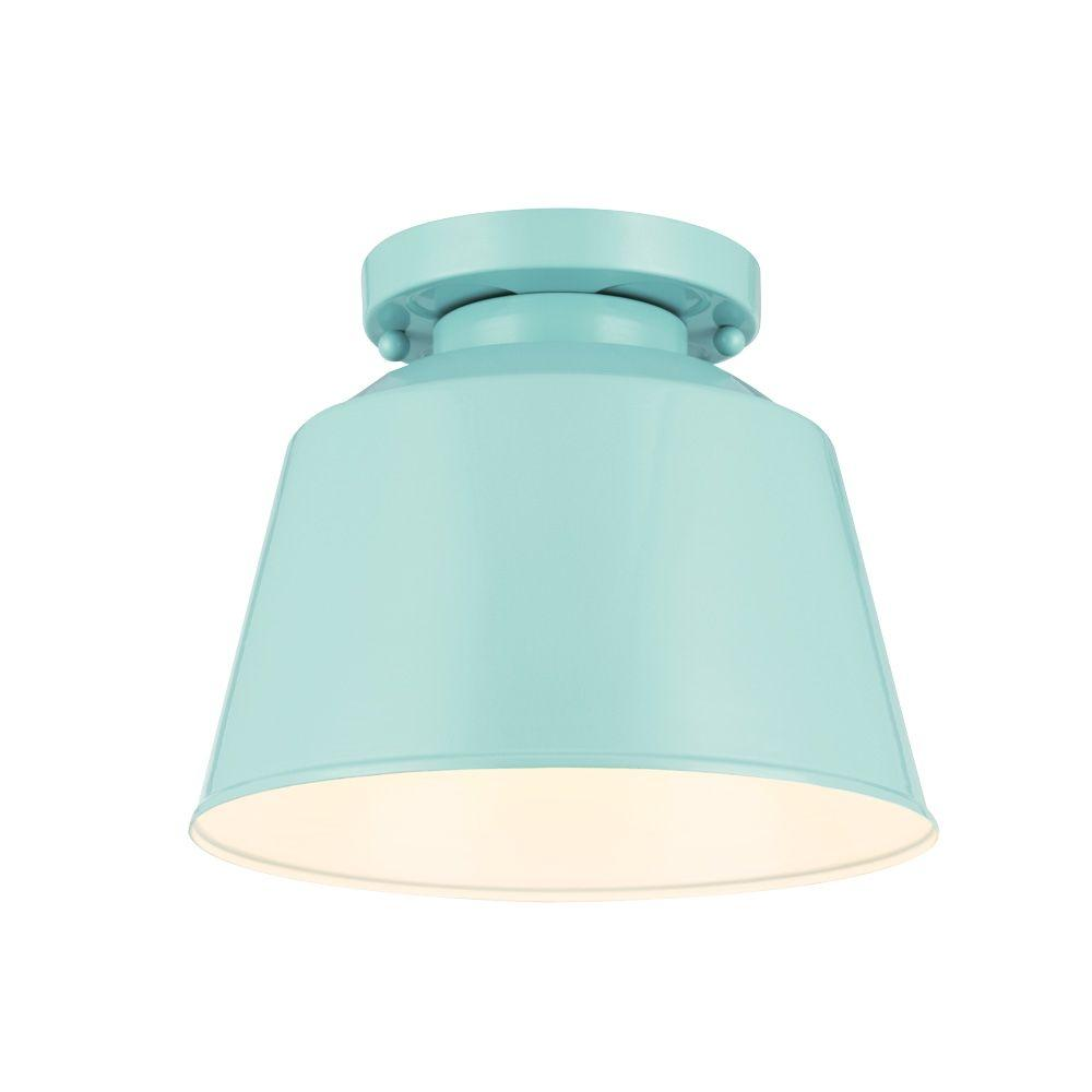 Feiss Freemont 9 in. W x 7.125 in. H 1-Light Hi Gloss Blue Damp Rated Indoor Semi-Flushmount Metal Drum Ceiling Light Fixture
