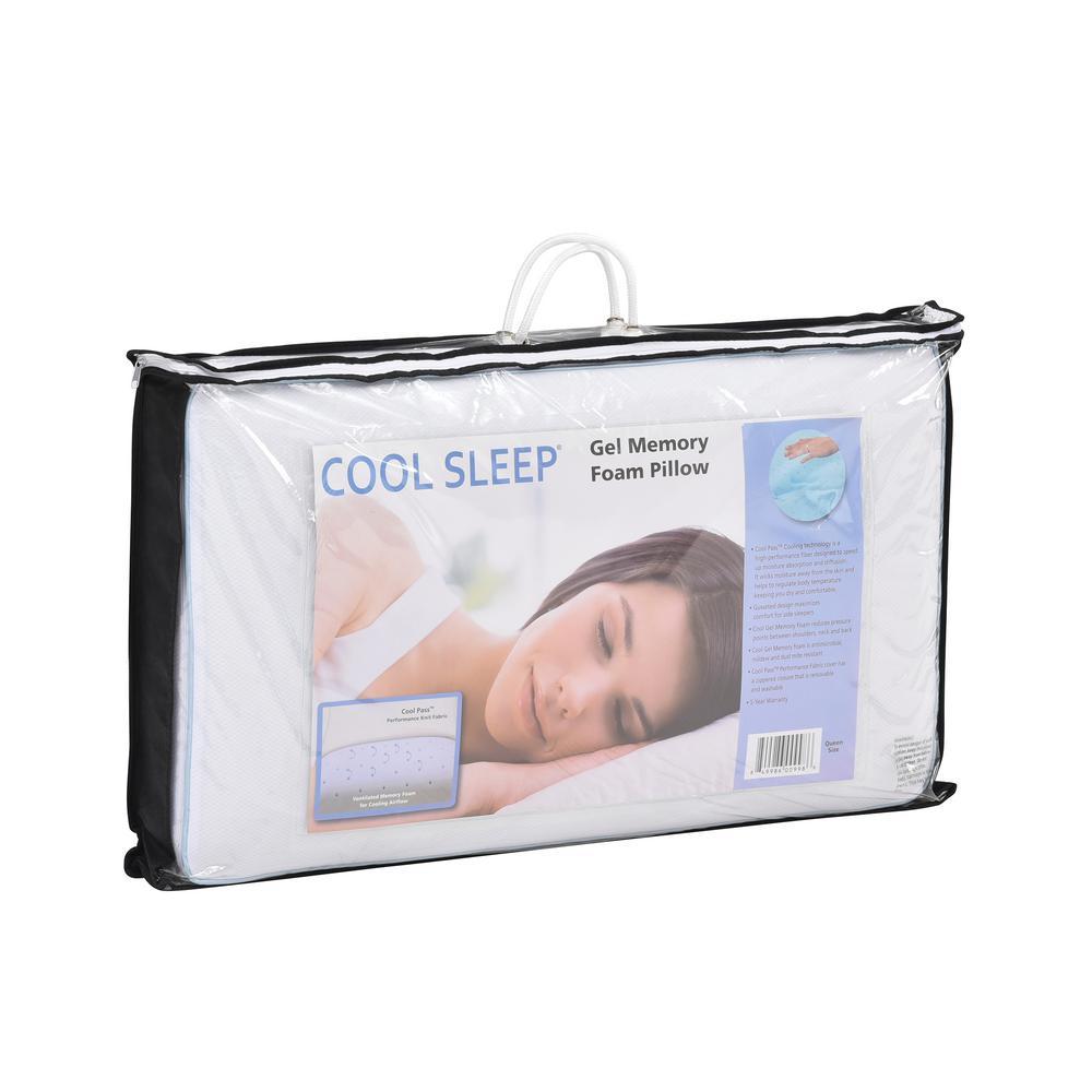 4f7a46aae9cf Cool Sleep Cool Sleep Queen-Size Ventilated Gel Memory Foam Bed Pillow  810705-6050 - The Home Depot