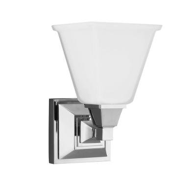 Denhelm 1-Light Chrome Wall/Bath Sconce with Inside White Painted Etched Glass