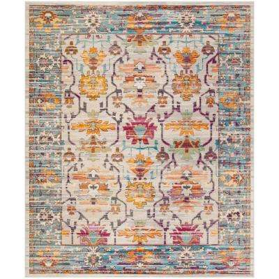 Crystal Cream/Teal 8 ft. x 10 ft. Area Rug