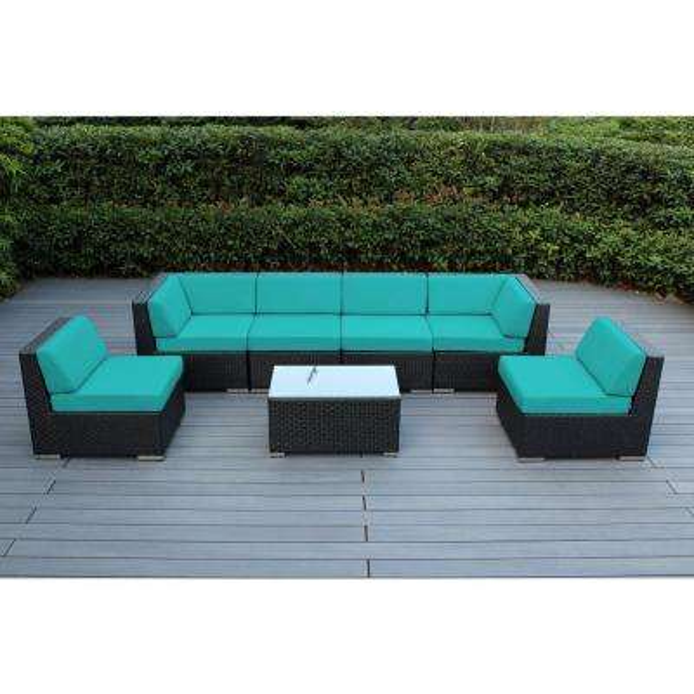 Ohana Black 7-Piece Wicker Patio Seating Set with Spuncrylic Turquoise Cushions