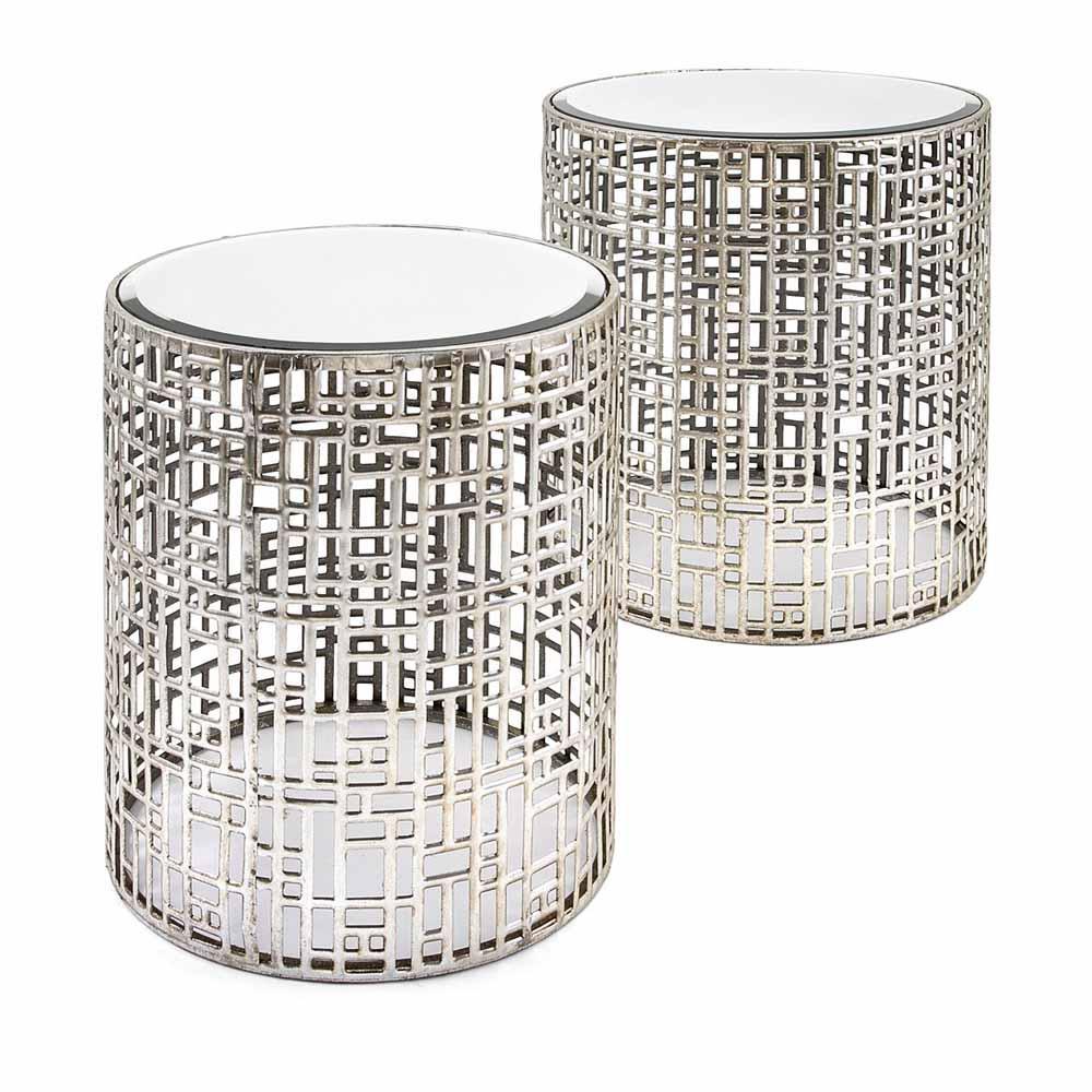 Evans Silver Mirror Tables (Set of 2)