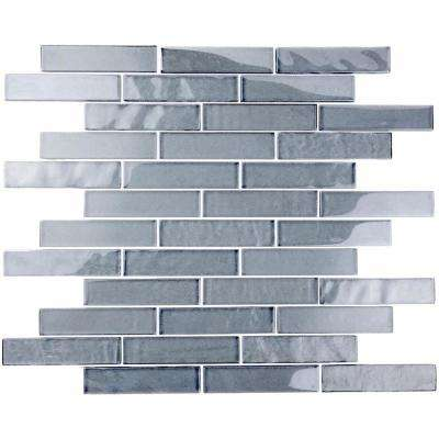 Landscape Sand Gray Linear Mosaic 1 in. x 4 in. Textured Glass Wall Pool and Floor Tile (1.04 Sq. ft.)