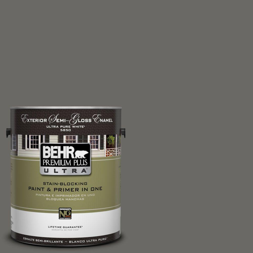 BEHR Premium Plus Ultra 1-Gal. #UL200-2 Mined Coal Semi-Gloss Enamel Exterior Paint