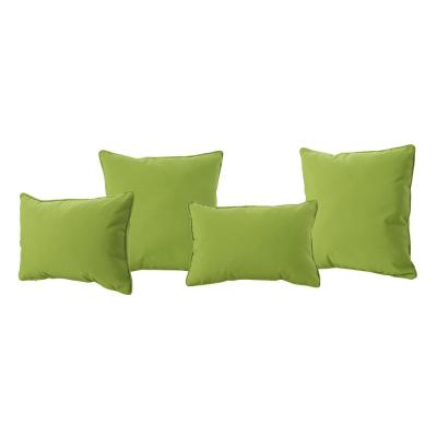 Coronado Green Lumbar and Square Outdoor Throw Pillows (4-Pack)