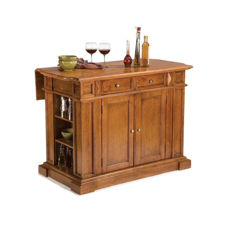 Home Styles Americana Distressed Cottage Oak Kitchen Island With Drop Leaf 5004 94 The Depot