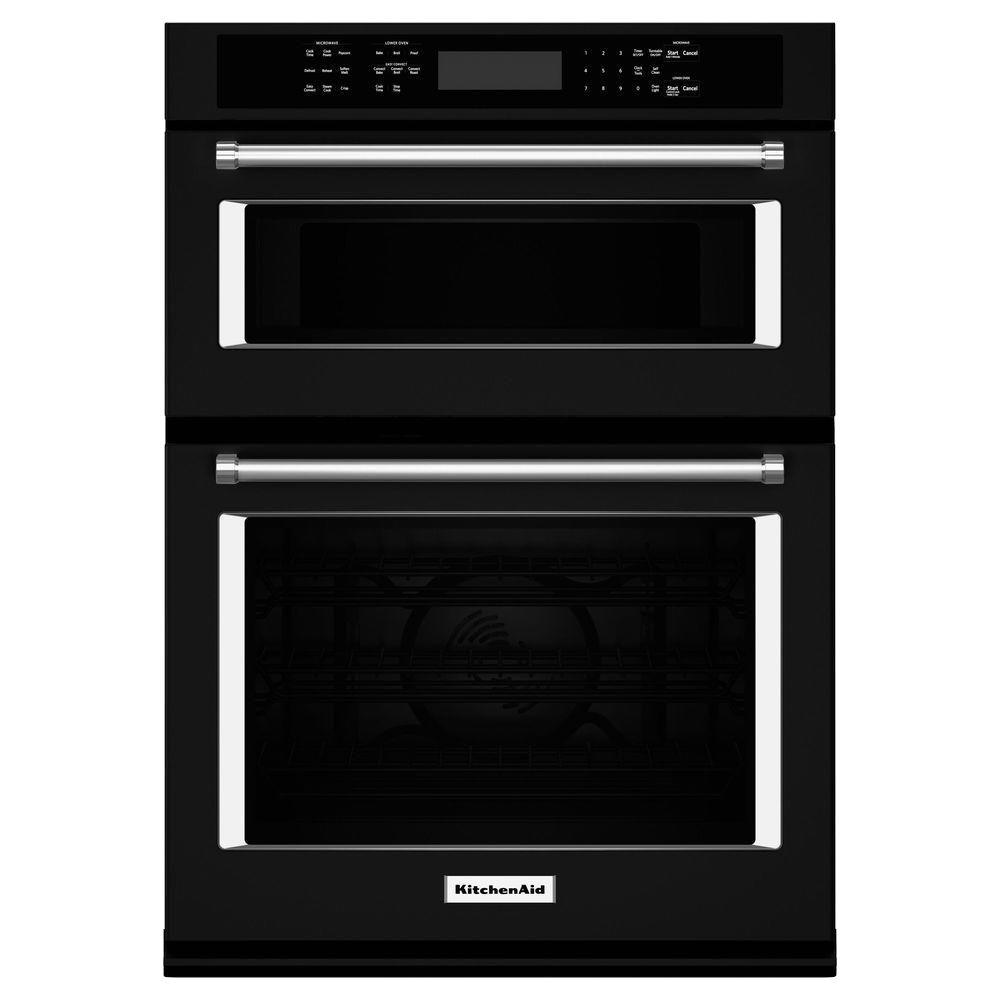 KitchenAid 27 in. Electric Even-Heat True Convection Wall Oven with Built-In Microwave in Black